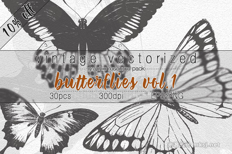 png素材 VintageVectorized-Butterfly Clipart