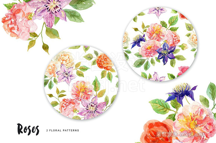 png素材 Roses Watercolor collection