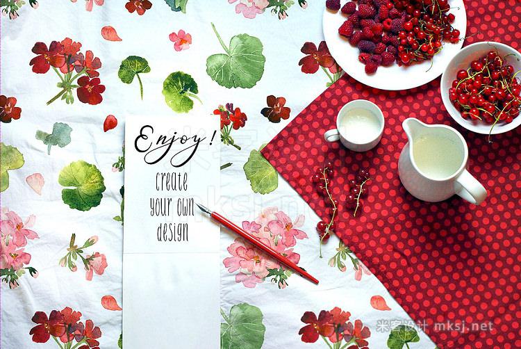 png素材 Geranium - Floral Watercolor Set