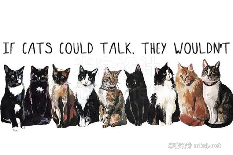 png素材 Watercolor Cat Illustration Clipart