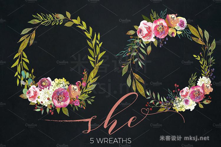 png素材 Peach Peonies Watercolor Flowers Set