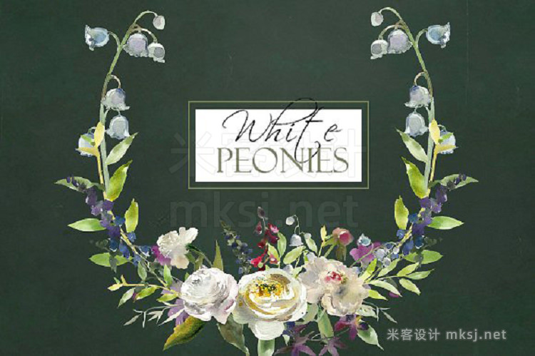 png素材 Watercolor White Flowers Clipart