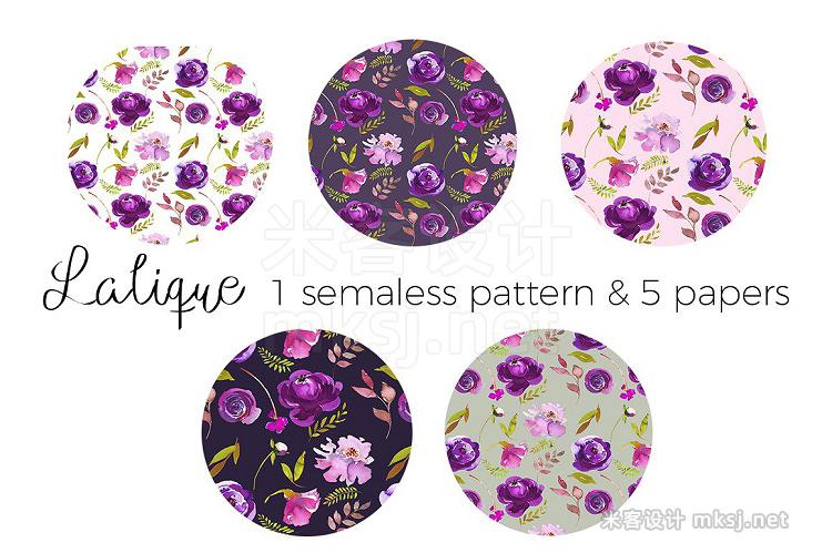 png素材 Violet Purple Watercolor Flowers