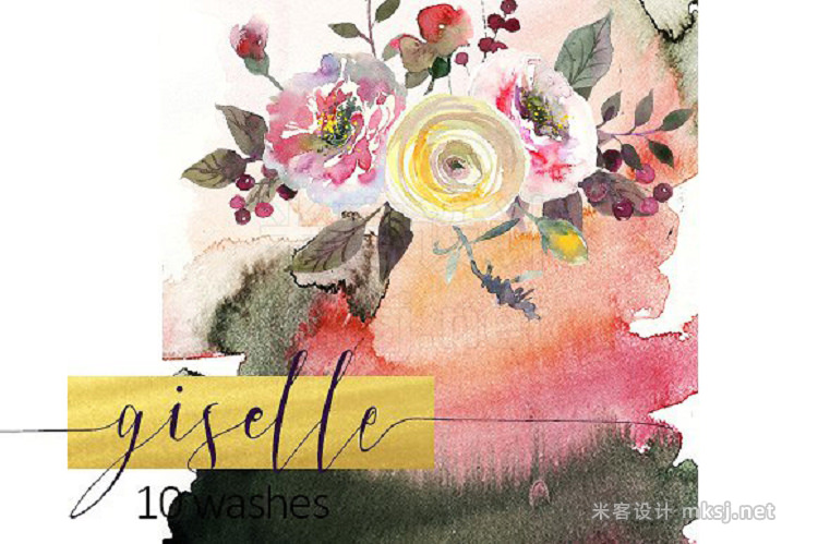 png素材 Watercolor Pink Yellow Flowers