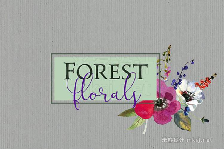 png素材 Watercolor Pink Purple Florals Set