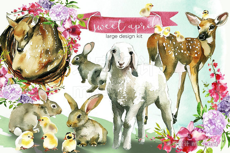 png素材 Easter Animals Flowers Clipart