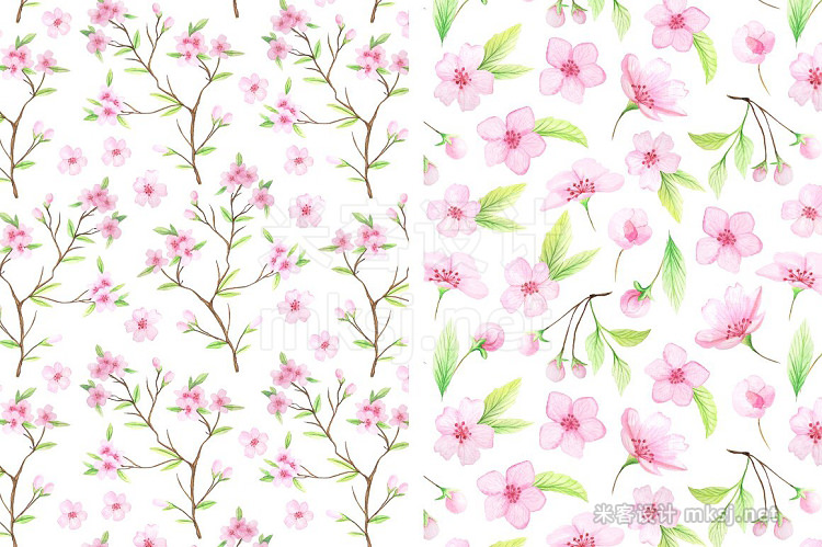 png素材 Watercolor Cherry Blossoms