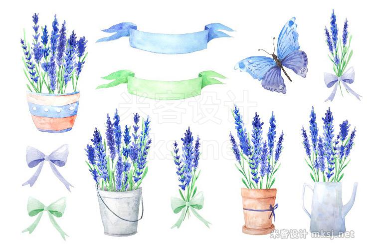 png素材 Watercolor Blue Lavender Flowers