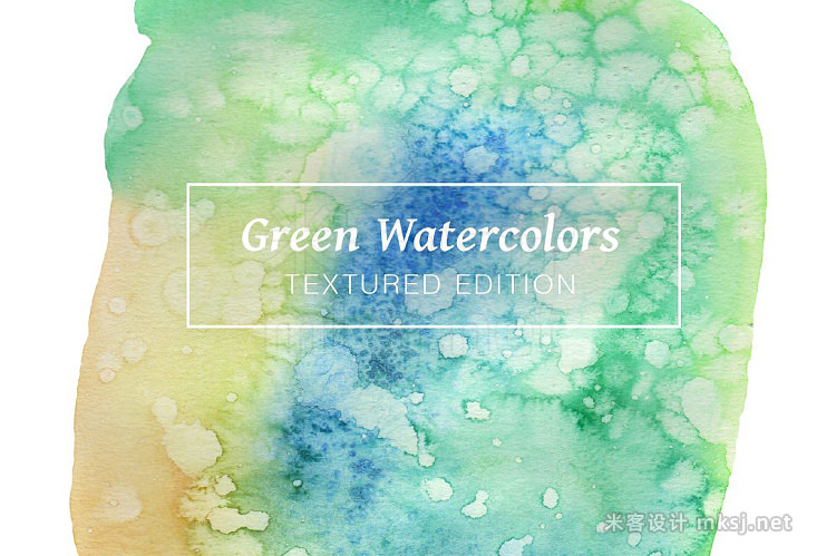 png素材 Green Textured Watercolors