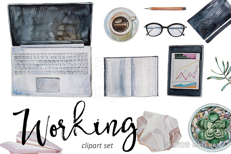 png素材 Watercolor Working Clipart Set