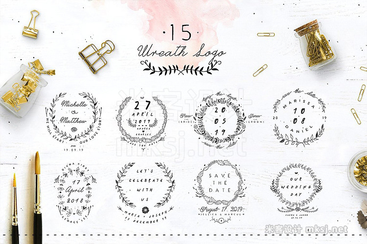 png素材 30 Save the Date Wreath Logo