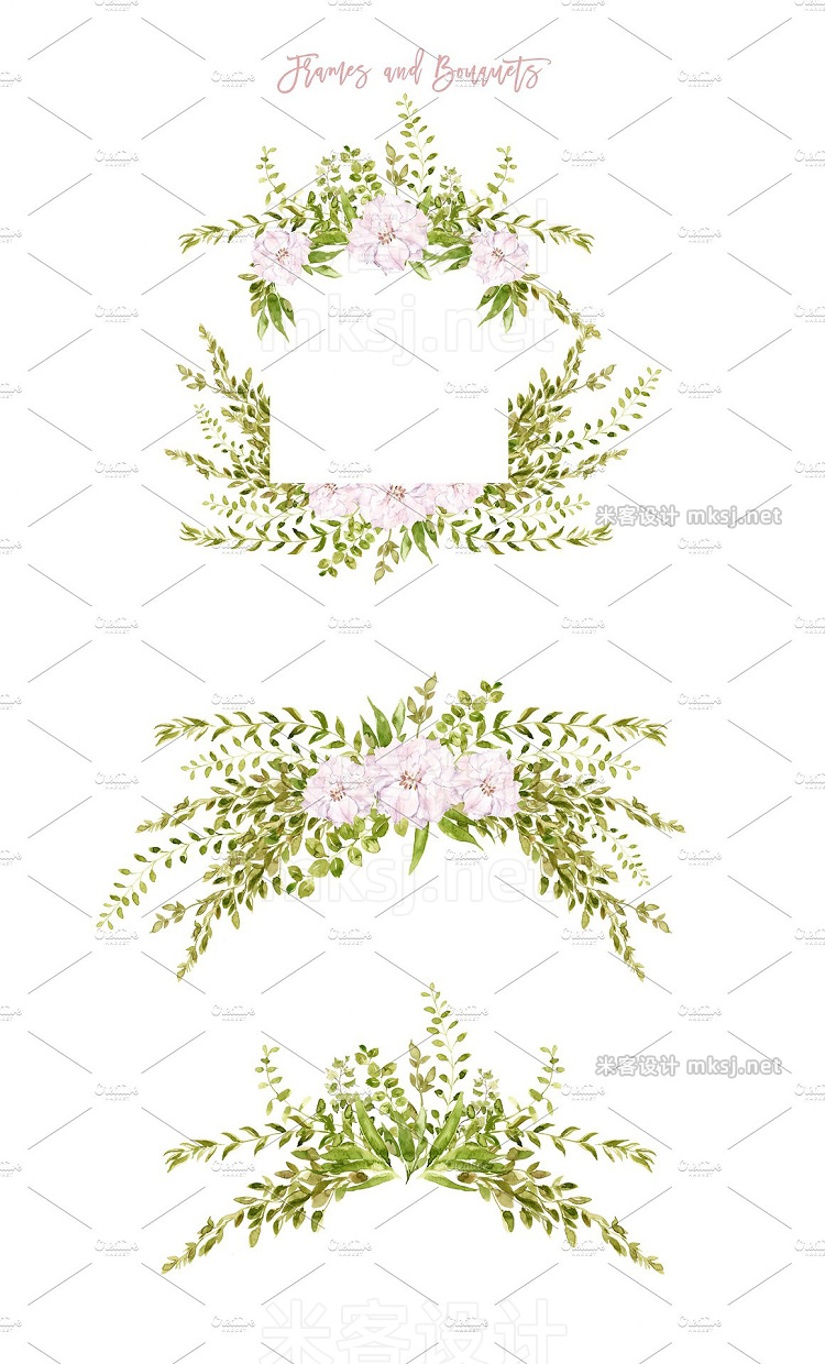 png素材 Lush Greenery Delicate Flowers