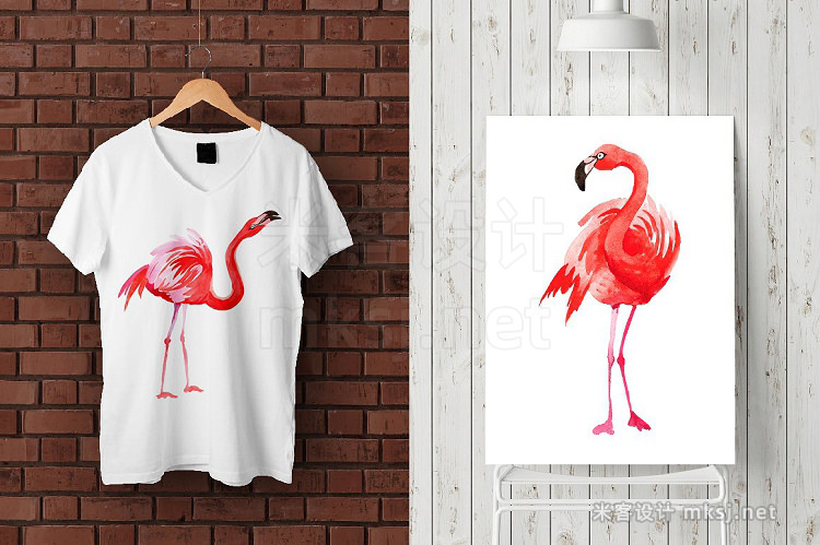 png素材 Flamingo fashion watercolor PNG set