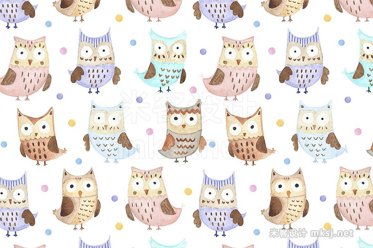 png素材 Watercolor Owls patterns cards
