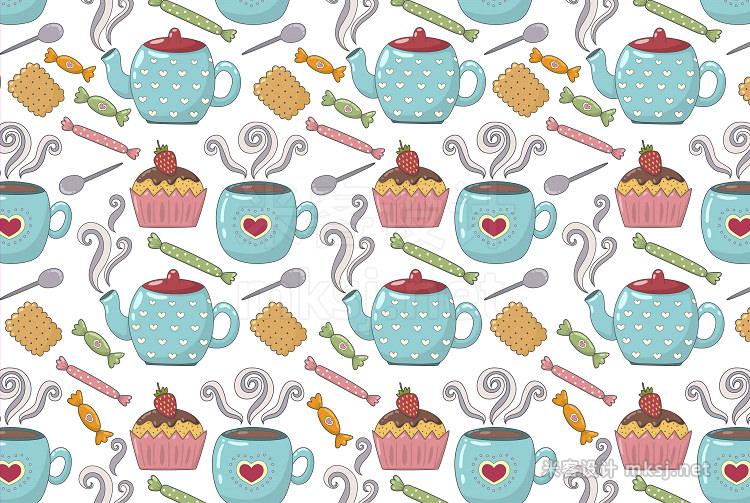 png素材 Tea Time pattern elements