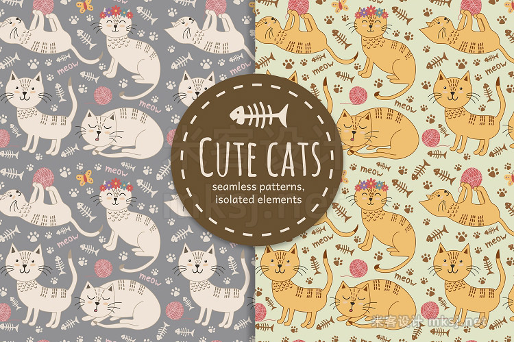 png素材 Cute cats seamless patterns