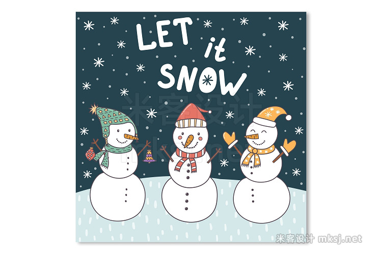 png素材 Let It Snow patterns cards