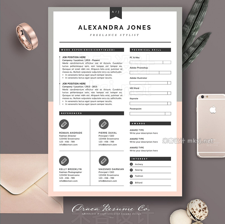 png素材 Resume Template 3Page Pink Grey