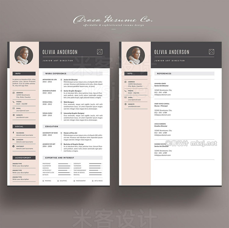 png素材 Resume Template 3 Pages Pink