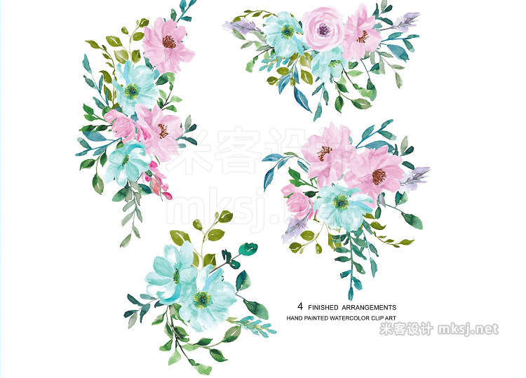 png素材 Watercolor Mint Pink Flowers