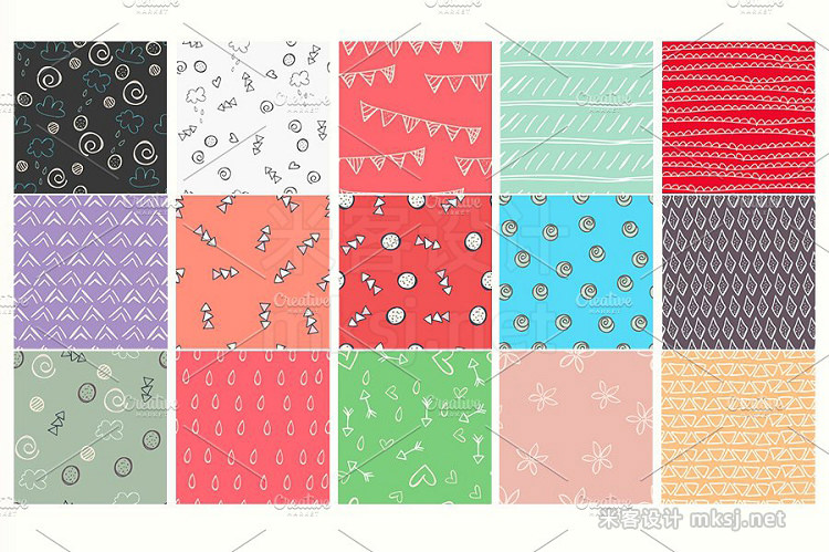 png素材 Doodles Seamless Patterns