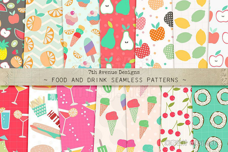 png素材 Food and Drink Seamless Patterns