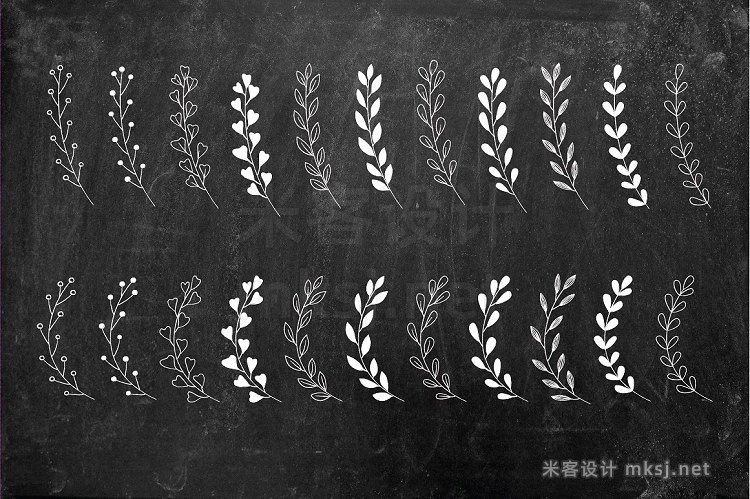 png素材 Chalkboard Floral Design Kit AI PNG