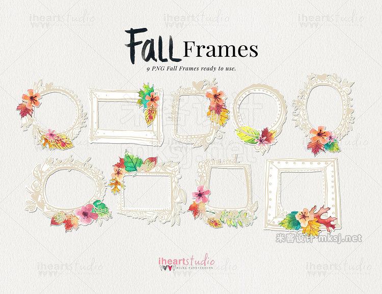 png素材 Fall Frames Watercolors