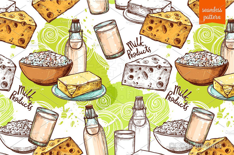 png素材 Milk Products Sketch Set