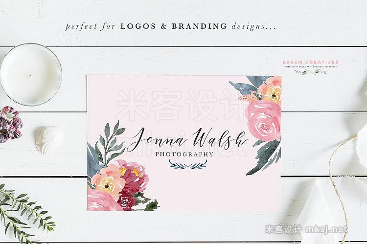 png素材 Burgundy Blush Navy Flowers Clipart