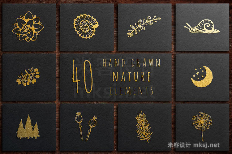 png素材 40 Hand Drawn Nature Elements