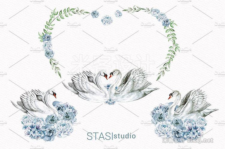 png素材 Watercolor Swan Clip Art