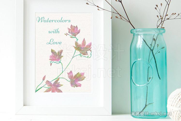 png素材 150 Watercolor FloralsBonus