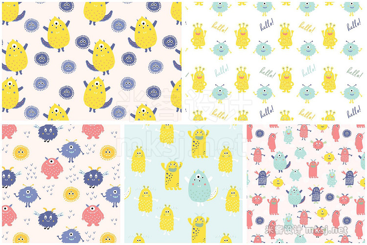 png素材 Cute Monsters Patterns