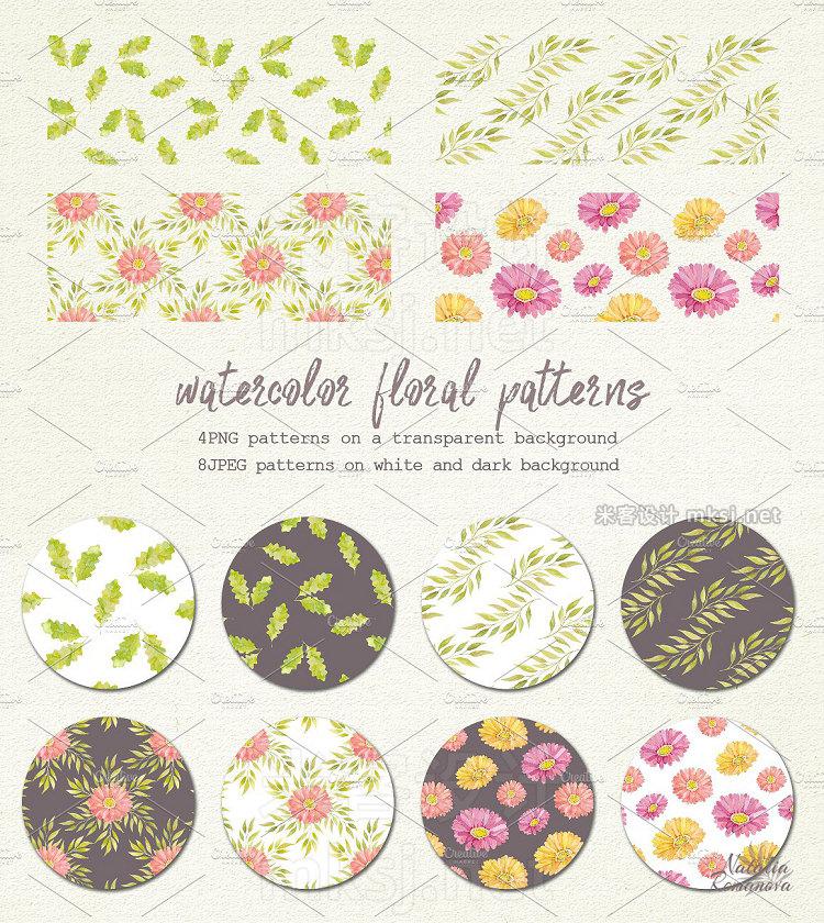 png素材 Watercolor set of gerbera flowers