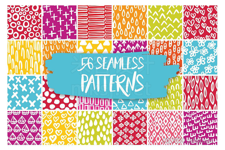 png素材 204 Hand Drawn Doodles 56 Patterns