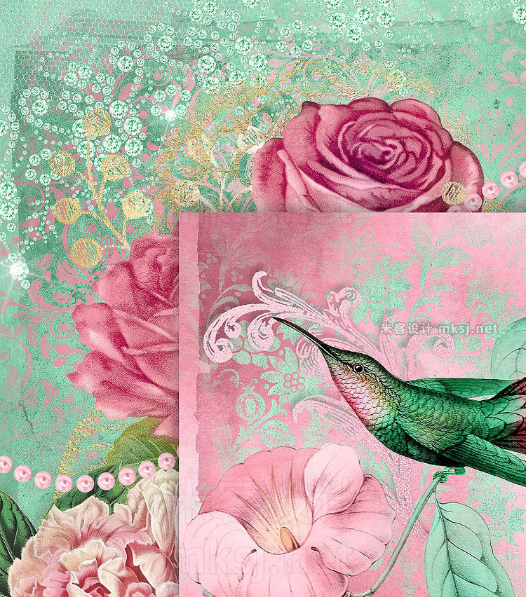 png素材 Pink and Mint Digital Scrapbook Kit