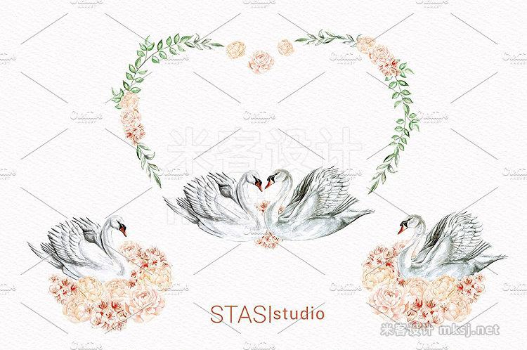 png素材 White Swan Romantic Clipart
