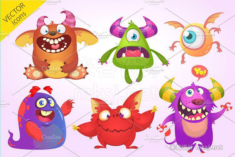 png素材 Cartoon 6 monsters Vector set