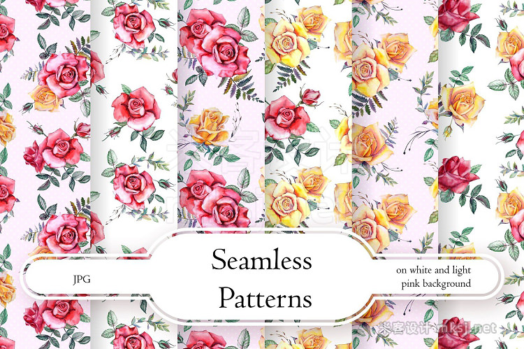 png素材 Watercolor Flowers Clipart - Roses