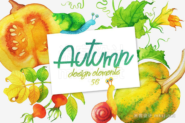 png素材 Watercolor Autumn