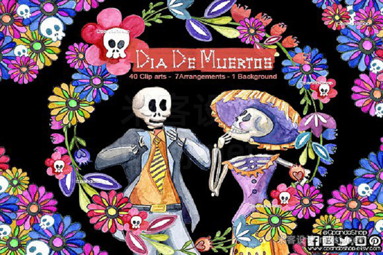 png素材 Day of the dead watercolor clip art