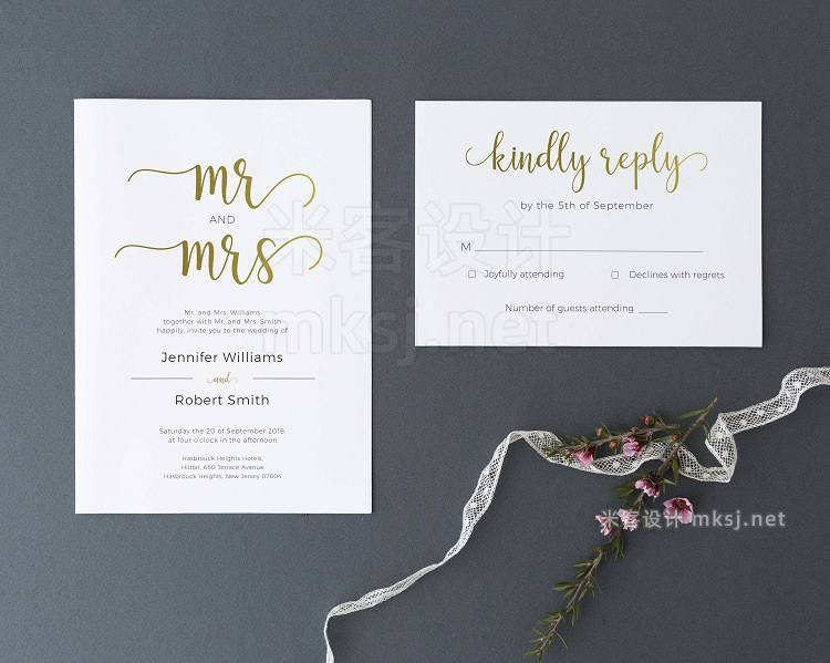png素材 Wedding Invitation Set Gold