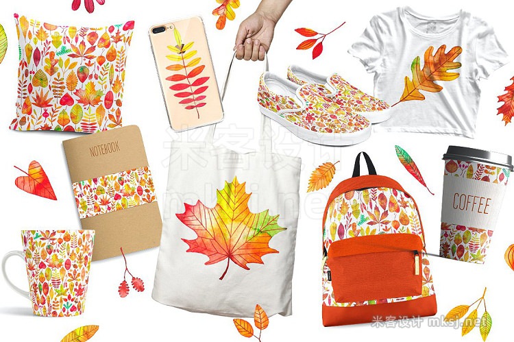 png素材 Watercolor autumn fall leaves