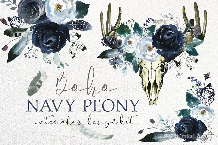 png素材 Boho Navy Peony Floral Design Kit