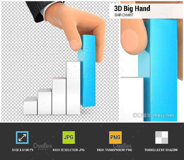 png素材 3D Big Hand and Bar Chart