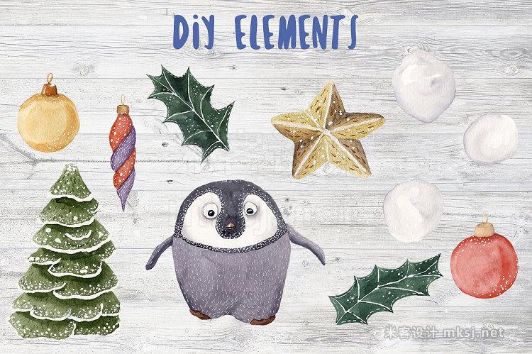 png素材 Antarctic Christmas Watercolor Set