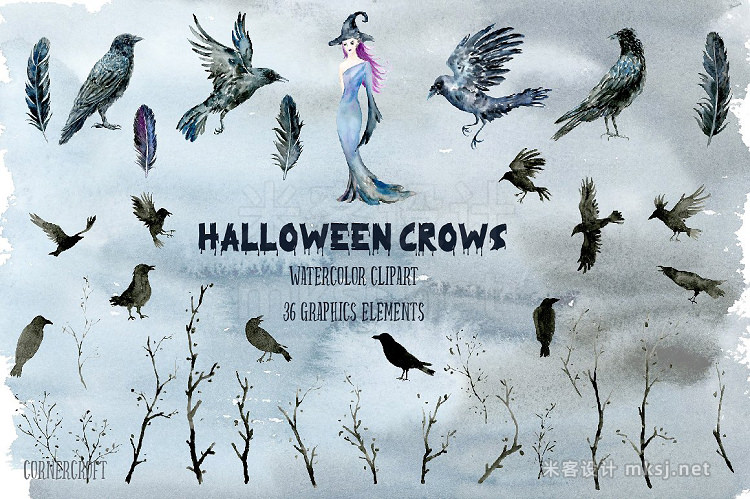png素材 Halloween Crows Witch