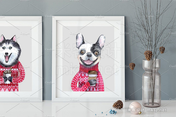 png素材 CHRISTMAS AND DOGS watercolor set