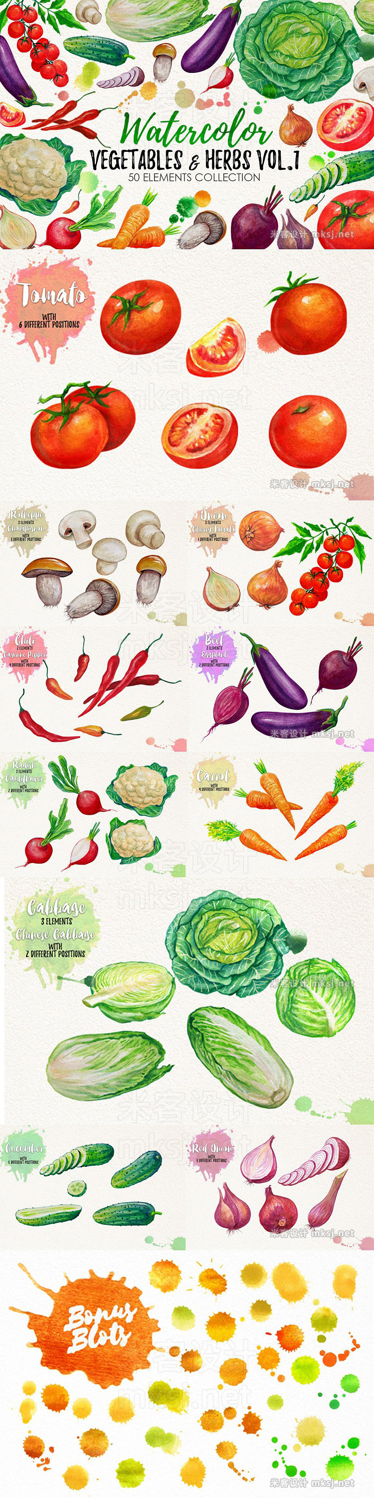 png素材 Watercolor Big Food Bundle